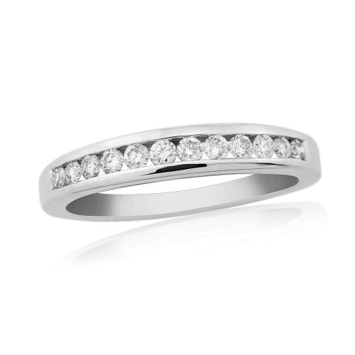 White Gold Diamond Eternity Ring Channel Set 25 Points